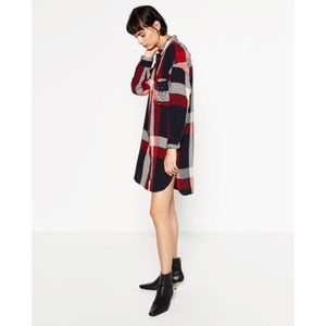 Zara Plaid Shirt Dress Studs size Medium